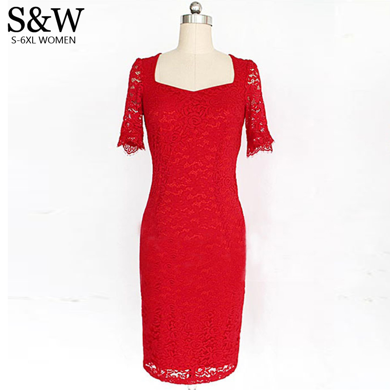 Summer Sexy Red Lace Dress Women Plus Size 10XL 9XL 8XL 7XL 6XL Pencil Bodycon Dresses Red Prom Formal Dress Big Size image