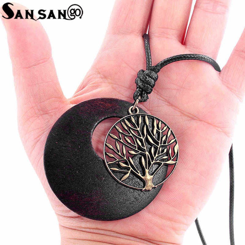 Ethnic Style Natural Wood Round Pendant Necklace  Copper Tone Tree Of Life Charms Wax Chain Necklace Jewelry For Woman Man Gift