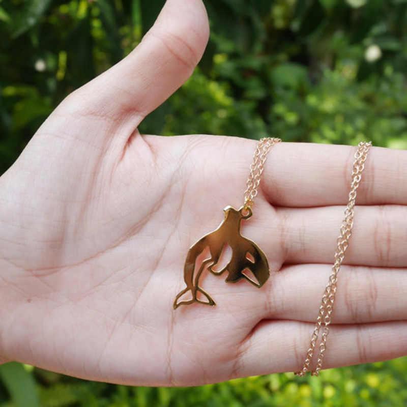 Mới Hợp Thời Trang Vàng Bạc Cá Tính Cá Voi Sát Thủ Origami Vòng Cổ Động Vật Mặt Dây Chuyền Tuyệt Thực Trò Chơi Vòng Cổ Nữ Người Bạn Tốt Nhất