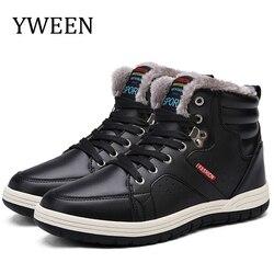 Yween botas de couro masculinas de pele grossa sapatos casuais masculinos de alta qualidade sapatos de inverno rendas sapatos masculinos tamanho 39-48
