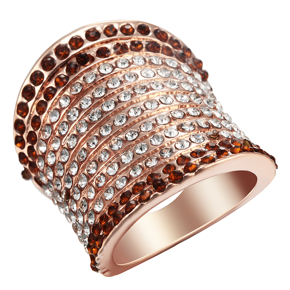 Cheap Rose Engagement Ring For Women Bridal Gift Rhinestone Champagne Color  Unique Wedding Band Rings Jewelry