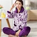 2017 Mulher pijamas de Inverno Coral impressão cardigan espessamento da longo-luva Desgaste Casa Lazer sono definir Turn-down Collar para o Sexo Feminino