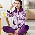 2017 Woman Winter pajamas print Coral cardigan thickening  long-sleeve Home Wear Leisure sleep set Turn-down Collar For Female