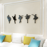 Ballet girl Acrylic crystal three dimensional wall stickers Dancing room gym Music room decoration Candy color