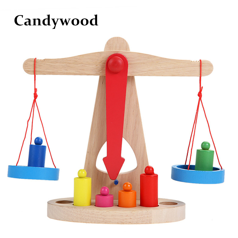 Montessori Teaching Kids Children Wooden Toys Wood Balance Scale Weigh Bean Libra Pendulum Early Learning Developmental Toys 200000g electronic balance measuring scale large range balance counting and weight balance with 10g scale