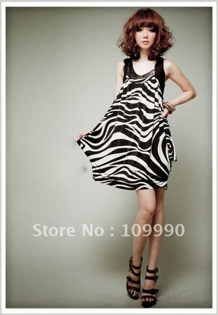 Zebra stripes black and white elegant sling Harlan wood chips decorative Tank Dress women dresses free shipping cool