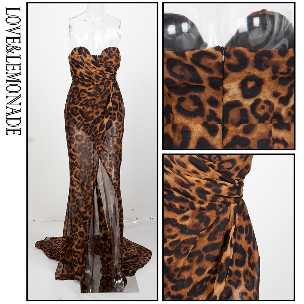 Love&Lemonade  Deep V Neck Cross Brown Leopard Chiffon Slim Long Dress LM81352Brown
