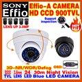 Alta qualidade hd 1/3 sony effio ccd 800/analog hd cor da câmera de cctv de vigilância de segurança 900tvl osd meun interior mini dome vídeo