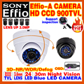 High Quality HD 1/3Sony Effio CCD 800/900TVL Security Surveillance Analog Hd Color Cctv Camera OSD Meun Indoor Dome Mini Video
