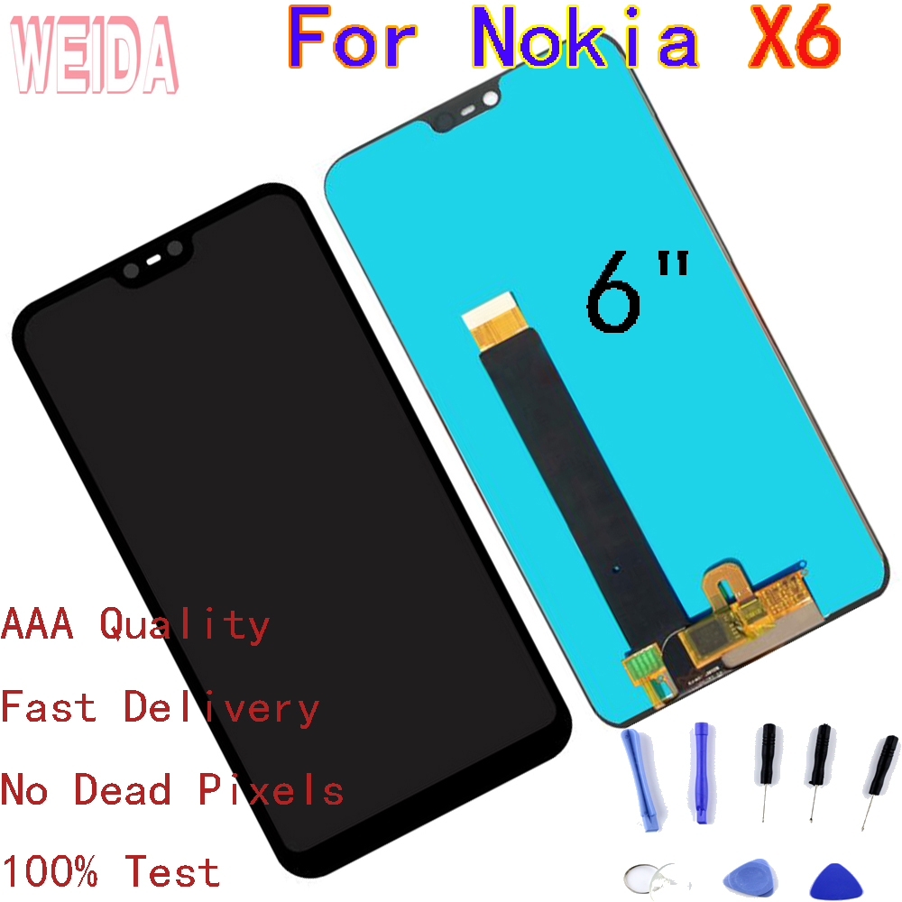 WEIDA 6 quot For Nokia X6 LCD Display Touch Screen Digitizer Assembly Nokia 6 1 Plus Display with Tool in Mobile Phone LCD Screens from Cellphones amp Telecommunications