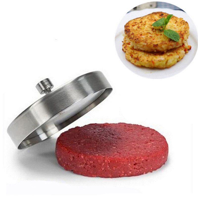 Stainless Steel Hamburger Patties DIY Mold Hand Operated Burger Meat Press Kitchen Accessories Silver Color Cooking Tools|Hamburger Presses| |  - AliExpress