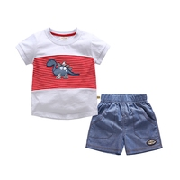 BAOZIWO 2019 Baby Boys Girls Cloth Sets Cartoon Dragon Print Summer Kids T shirt+ Shorts Suits Children Clothing Set