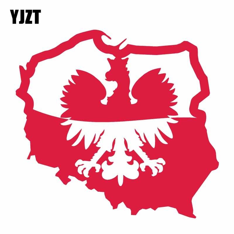 YJZT 15.7CM*14.6CM Poland Eagle Flag Car Sticker Car Body Window Decal 6-1173