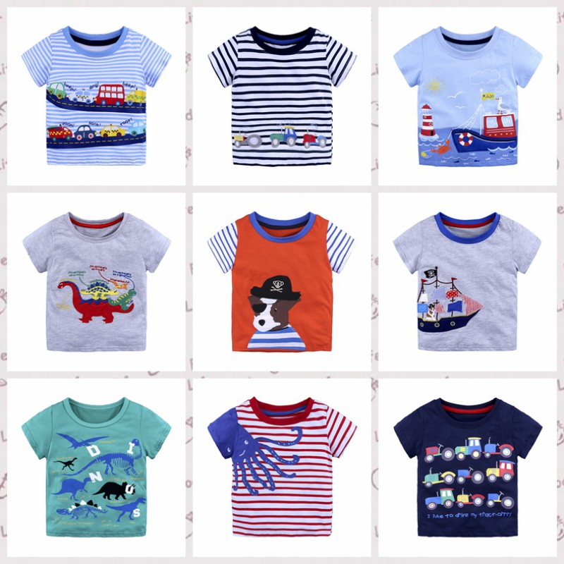 Summer Kids Baby Boy Cotton Short Sleeve T-shirt Tops Children Cartoon Stripe Car Animal Pattern Blouse Clothes Hot Sale яйцеварка profi cook pc ek 1139