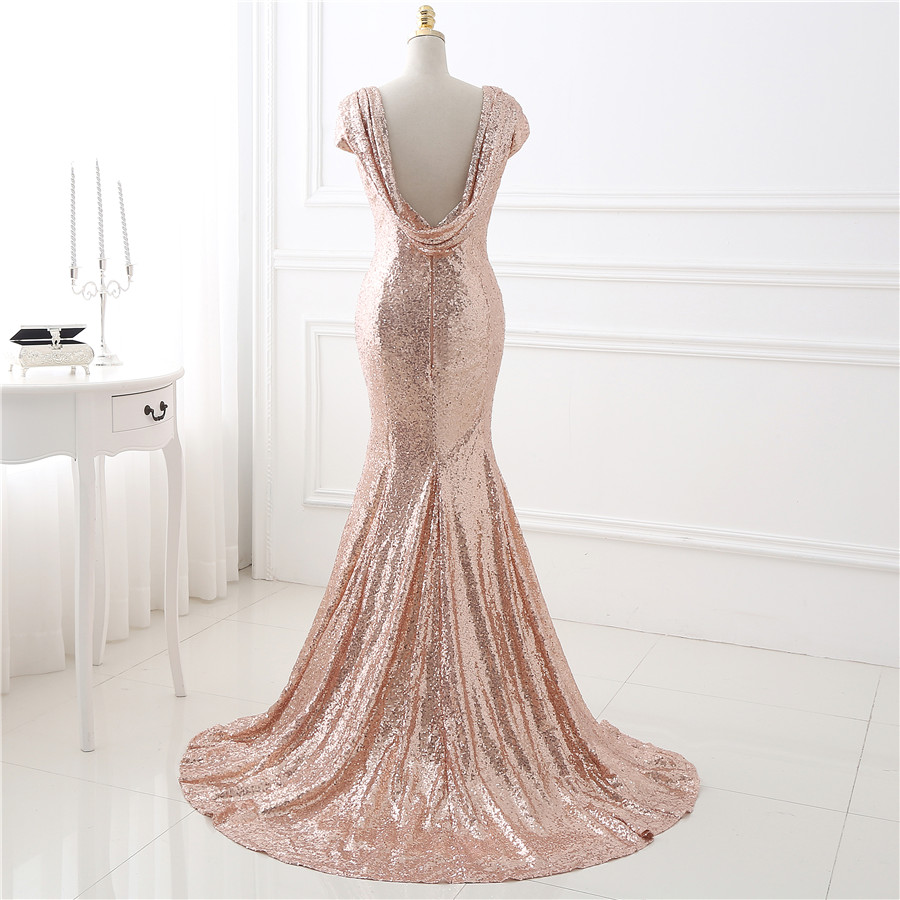 Elegant Rose Gold Sequin Short Sleeves Bridesmaid Dress