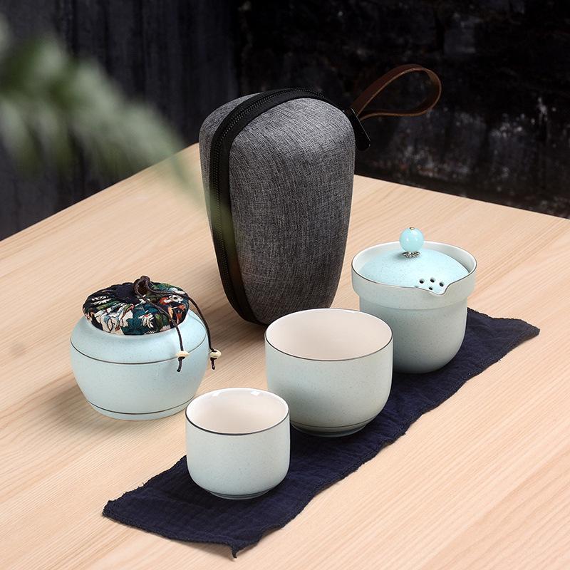 Ensemble de thé coréen vert/rose voyage céramique Kung Fu théière thé Caddy fait à la main maison bureau théière thé Gaiwan soupière thé cérémonie