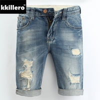 Mens Denim Shorts 2015 New Summer Regular Casual Knee Length Short Bermuda Masculina Hole Jeans Shorts