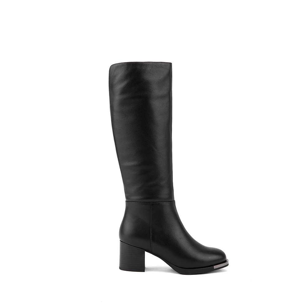 SOPHITINA ใหม่ขายร้อนเข่า-สูงรองเท้าบู๊ทคุณภาพสูง COW หนังรอบ Toe Square Heel รองเท้าสั้น plush รองเท้า BA18