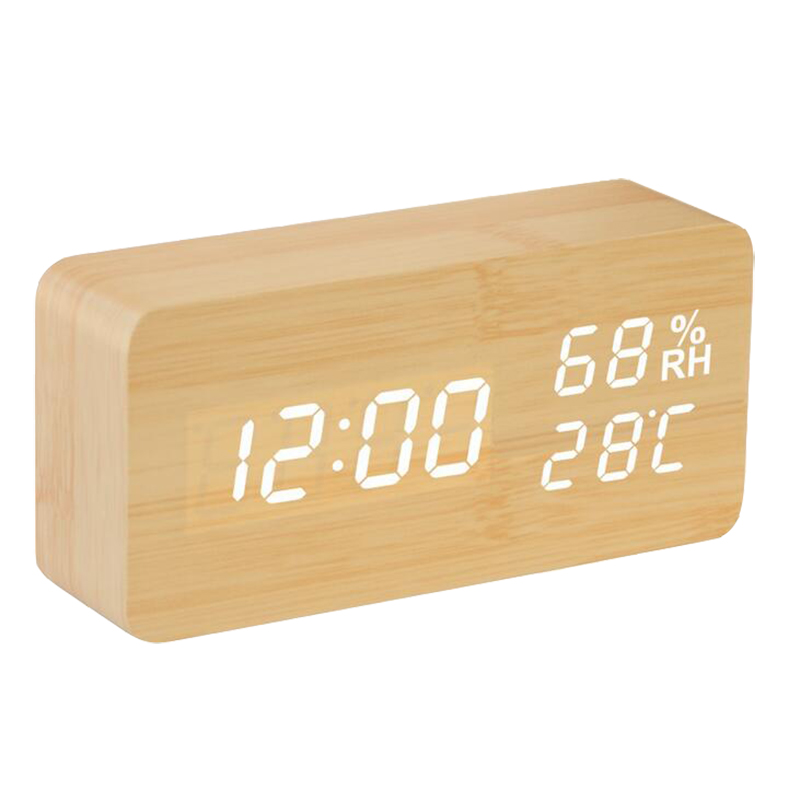3 Colors Wooden Digital LED Table Clock Electronic Calendar Clock Alarm Clock Free Shipping NZ001