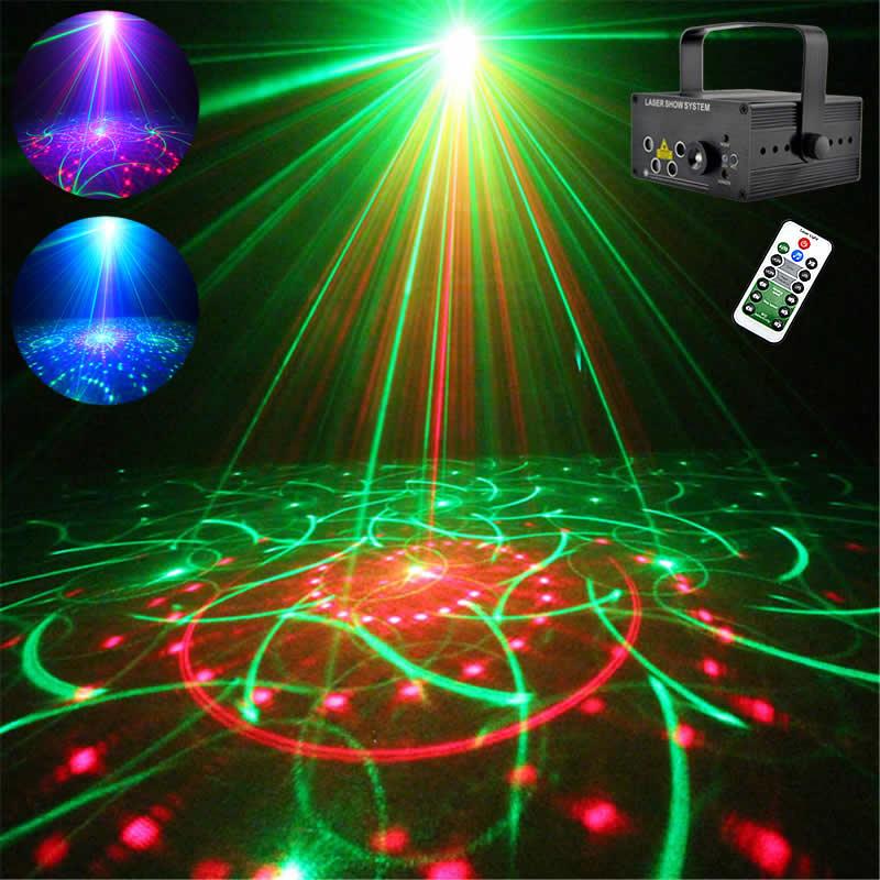 Mini Remote 4 Lens 80 RGRB Gobos Laser Lights Blue LED Stage Lighting DJ Party Show Xmas Home Professional Adjust Speed Lamp 80F цена