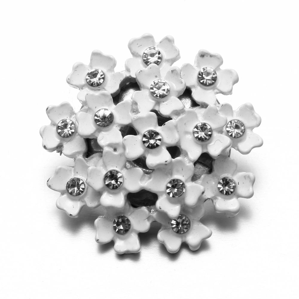 Rhinestone Style White Flower Charms 18mm Snap Button Jewelry For Snap Bracelet Snaps Jewelry KZ0550 snap button jewelry