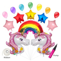 Birthday Party Decorations kids Foil Balloons with Ribbon Pump Unicorn Balloon Set Party Supplies Wedding /Christmas Decor