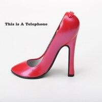 Для hello kitty креативный стационарный телефон на высоком каблуке с Redail Tone Pluse переключаемый стационарный телефон маленький для домашнего офис...