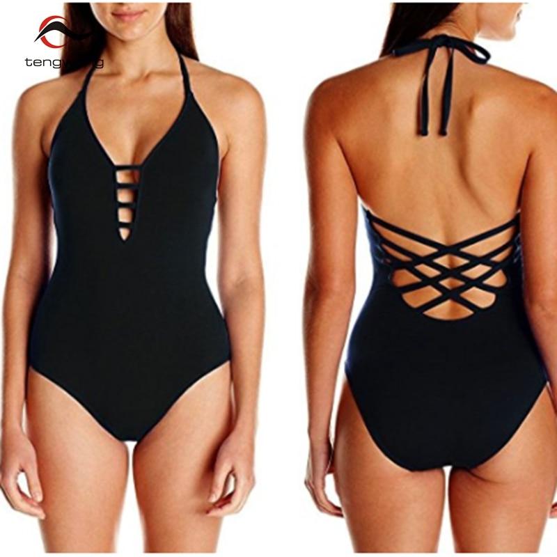 2018 One Piece Swimsuit Women Swimwear Bandage Vintage Beach Wear Solid Bathing Suit Monokini Retro Swimsuit Plus Size Swim Suit