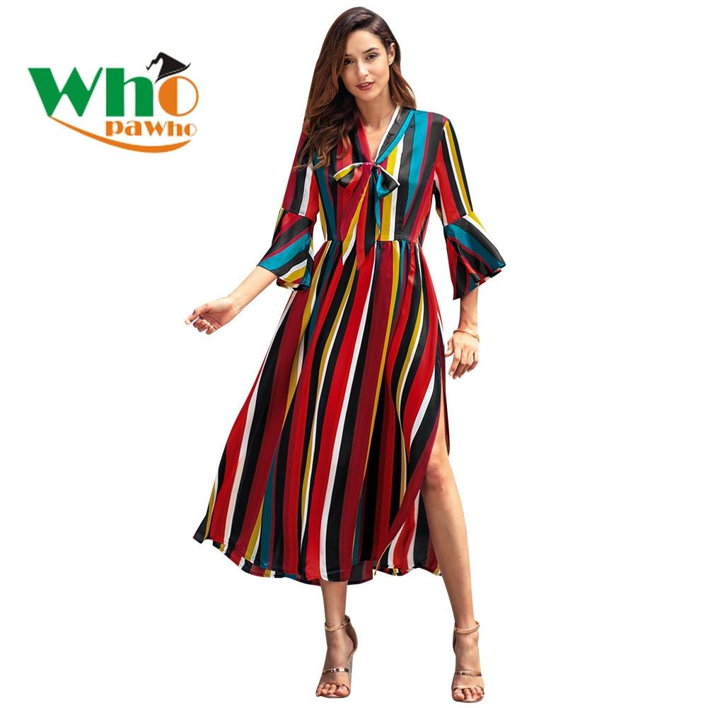 2019 Spring New Dress Long-sleeved Rainbow Stripe Open Fork Long Women's Dresses Women Dress
