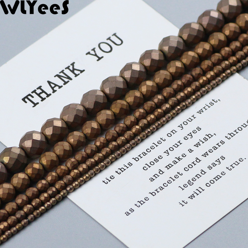 WLYeeS Polish Matte Faceted Round Hematite beads 2-10mm plating Copper Color Loose for Jewelry Bracelet earring Making DIY