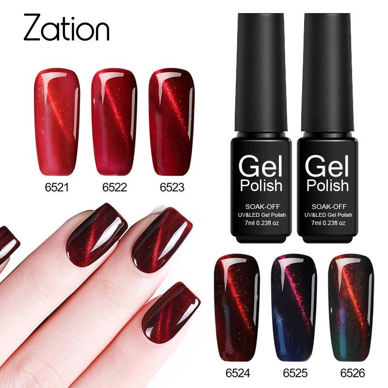 Zation 3D Cat Eye Metallic Gel Nail Polish Red Series Soak