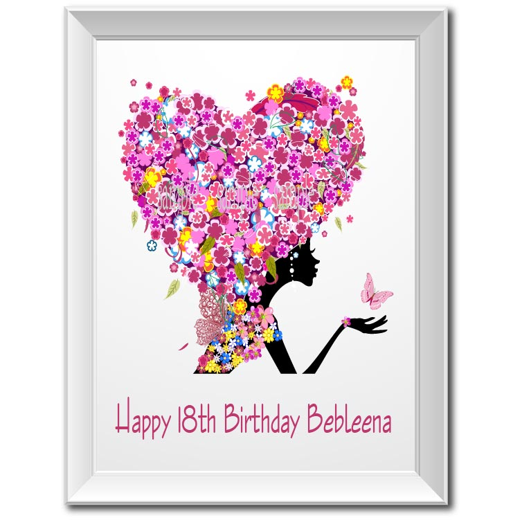 Personalized 18th Birthday Gift Flower Girl Poster Print