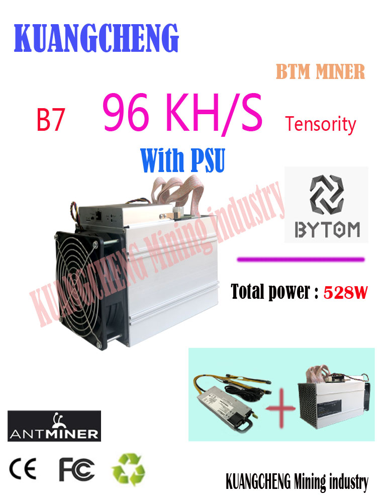 Kuangcheng Bitcoin Mining Machine New BTM ASIC Miner Antminer B7 96KH/S Miner Tensority Miner With Psu Better Than WhatsMiner