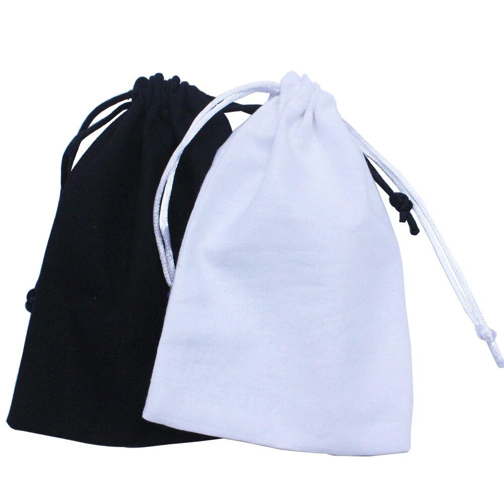 Черная сумка на шнурке из хлопка, белая Подарочная сумка из хлопка с логотипом на заказ (50 шт./лот)