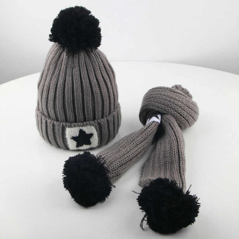 3337d2860803c0 ... 2-9 years old child Winter boys girls wool Solid color cap Two-piece