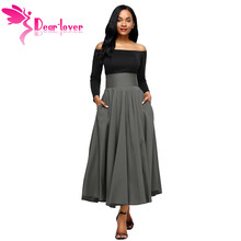 Dear Lover Women Slit Long Maxi Skirt Vintage Ladies Fashion Pleated Flared Pockets Lace Up Bow Plus Size 2XL Skirt Wine Red
