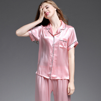 women's pajama sets silk 2019 new fashion brand pink blue 100% silk women's sleep&lounge short sleeve summer woman pajama sets