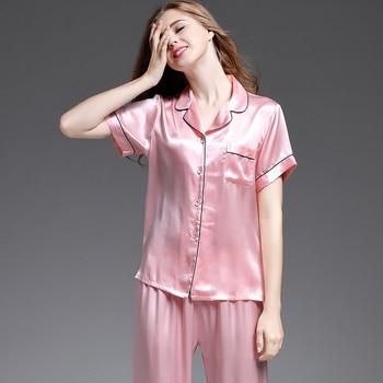 women's pajama sets silk 2019 new fashion brand pink blue 100% silk women's sleep&lounge short sleeve summer woman pajama sets