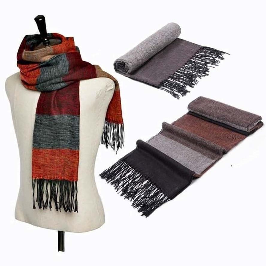 striped imitation pashmina winter scarf