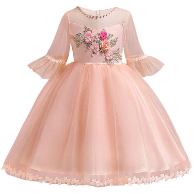 1aa68e0ced09a Nouveau enfants mode princesse été fille robe broderie fleurs pagode  manches enfants robes pour petite fille
