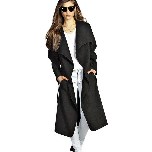 new style 60b24 70eb3 US $16.99 49% OFF|Kenancy Herbst Frau Mantel Breite Revers Gürtel Wolle  Mantel Übergroßen Frauen Schwarze Lange Trenchcoat Mantel Casacos Femininos  ...
