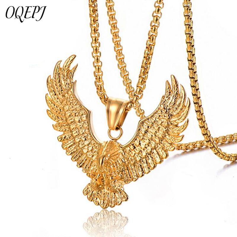OQEPJ Gothic Eagle Flapping Necklaces Pendant  316L Stainless Steel Men Necklace Gold Silver Color Animal Jewelry Fashionable