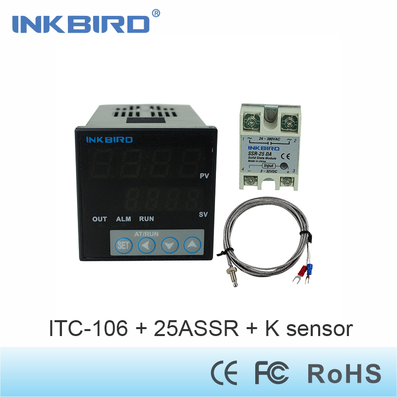 Inkbird ITC-106VH Digital PID Temperature Controller + K Sensor +25 A SSR/40A SSR 110v - 240v,Solid State Relay for Sous Vide normally open single phase solid state relay ssr mgr 1 d48120 120a control dc ac 24 480v