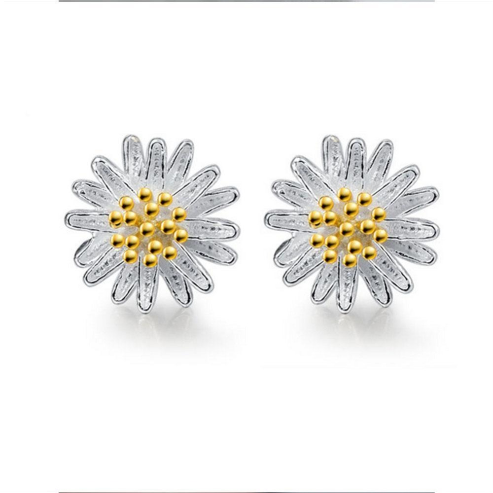 Woman 1 Pair Daisy Silver Earrings 925 sterling Romantic Push-back Engagement Trendy Anniversary Party  For Women Girl Gift