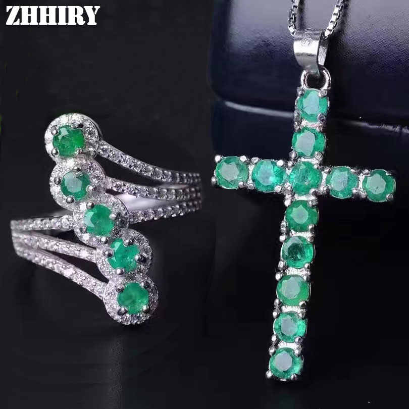 ZHHIRY Natural Emerald Jewelry Sets Solid 925 Sterling Silver For Women Stone Ring Necklace Precious Gem Birthstone Fine Jewelry
