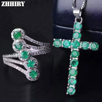 ZHHIRY Natural Emerald Jewelry Sets Solid 925 Sterling Silver For Women Stone Ring Necklace Precious Gem