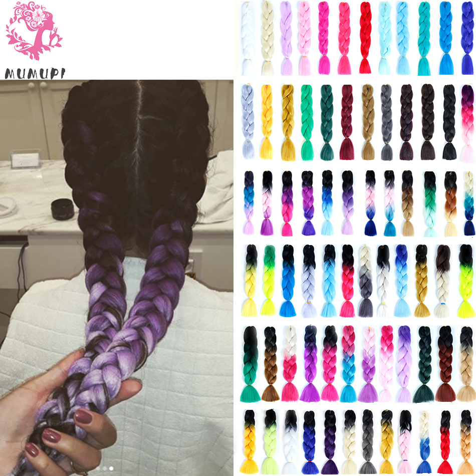 MUMUPI High quality Ombre Braiding Hair 100g Jumbo Crochet Braids Synthetic Hair Extensions women   headwear