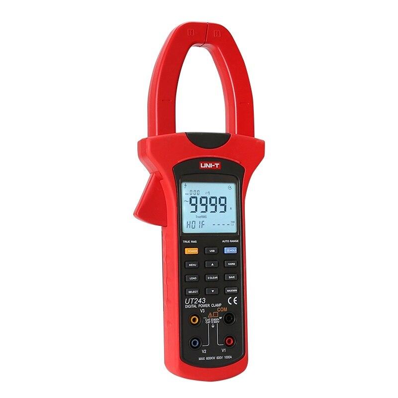 UNI-T UT243 Digital Power and Harmonics Clamp Meters TRUE RMS multimeter ammeter power harmonic tester 1000V 600A uni t ut243 true rms harmonic analysis clamp multimeter 3 phase 600v 1000a