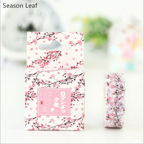 15mm Wide Pink Cherry Blossoming Flower Swatch Washi Adhesive Tape DIY Decorative Diary Planner Scrapbook Sticker Masking Tape