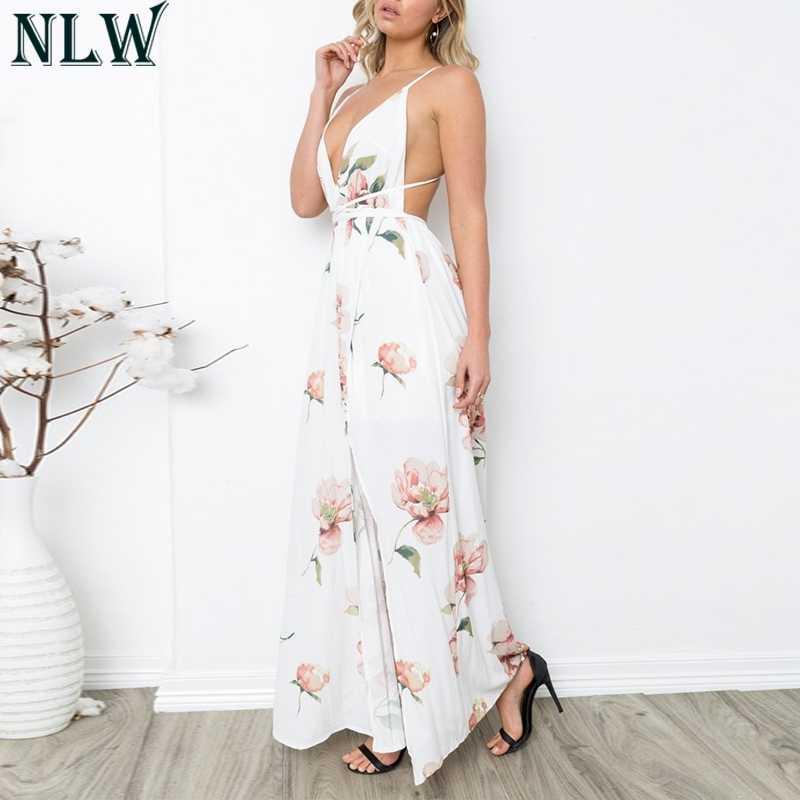 NLW Цветочный принт шифон Обёрточная бумага сексуальный v-образный вырез Для женщин Макси платья 2018 летнее платье в стиле бохо, соблазнительное длинное с открытой спинкой Обёрточная бумага платье Vestidos черный, белый цвет